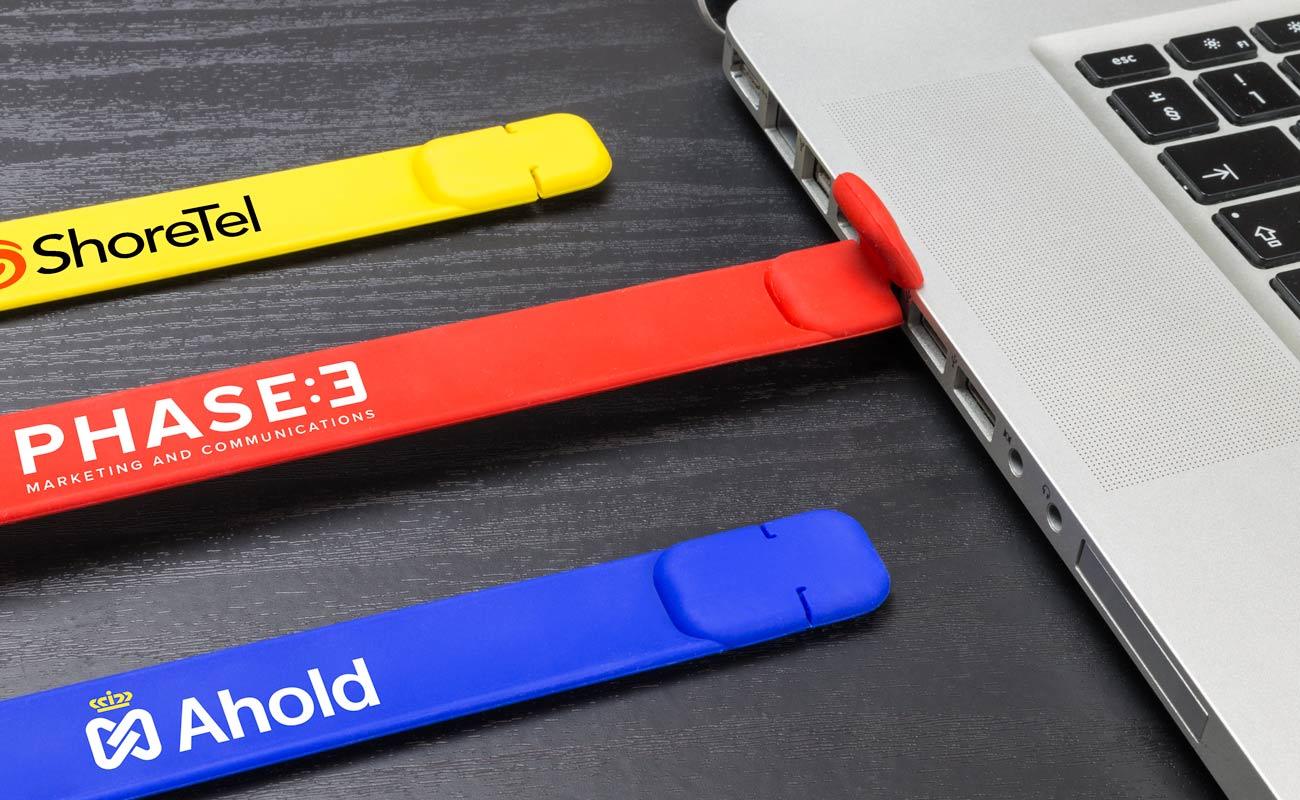 Slap - bedrukte USB armbanden